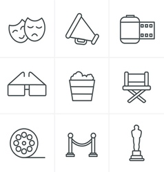 Line icons style movie icons design vector