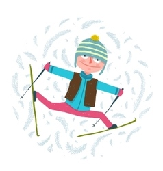 Funny colorful skier exercising in winter clothes vector