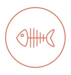 Fish skeleton line icon vector