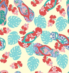 Summer background with flower and flip flops vector