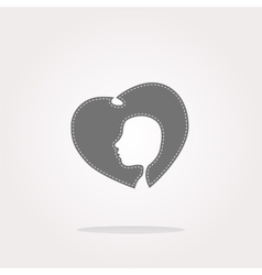 icon with heart and woman head Web Icon vector image