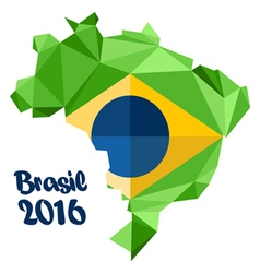 Abstract brasil 2016 logo with national flag vector