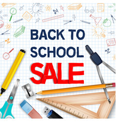 back to school with colorful school supplies vector image