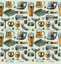 Beer mug and food products seamless pattern vector