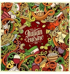 Cartoon hand-drawn doodles italian food frame vector