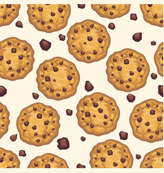 choco chip cookie seamless pattern vector image vector image