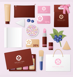 Cosmetics shop identity template mockup vector