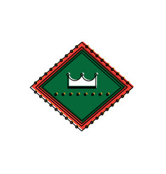 crown in diamond shape emblem icon image vector image
