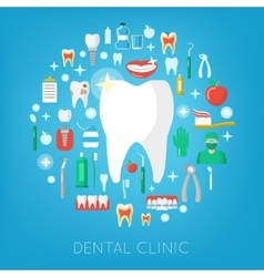 Dental clinic and care icons with tooth vector