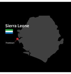 Detailed map of sierra leone and capital city vector