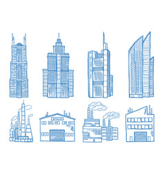 Different modern building with offices industry vector