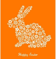 easter greeting card with bunny and flowered patte vector image vector image