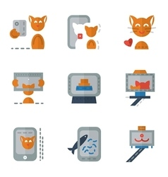 Flat color simple icons for selfie vector