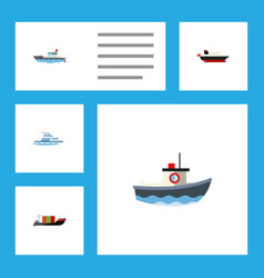 flat icon vessel set of sailboat cargo tanker vector image