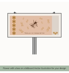 Flower with bee on a billboard 4 vector
