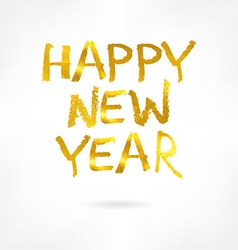 Golden inscription merry happy new year vector image