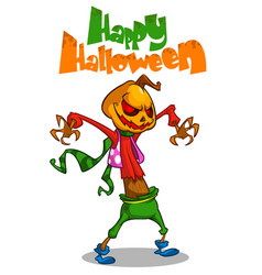 Halloween scary pumpkin head scarecrow postcard vector