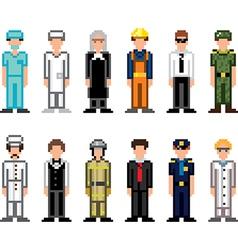 Icons professions pixel vector