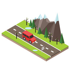 Isometric countryside spring road car goes vector