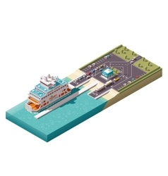 Isometric ferry port vector