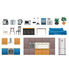 Kitchen interior elements icons set vector