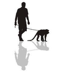 Man with a monkey on a leash vector image
