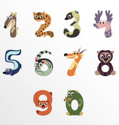 Numbers like north america animals vector