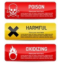 Poison harmful oxidizing - danger sign set vector