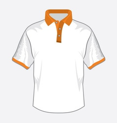 Polo majica bela orange kragna vector