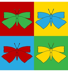 Pop art butterfly icons vector
