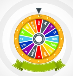 Poster with wheel of fortune with curved banner vector