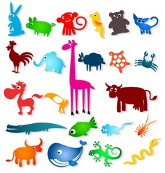 set cartoony animals vector image vector image
