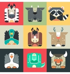Set flat square icons of a cute animals vector image vector image