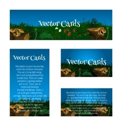 Set of cards with glade mushrooms and berries vector