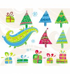 set of Christmas trees vector image vector image