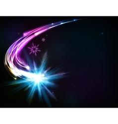 shining snowflake meteor vector image vector image