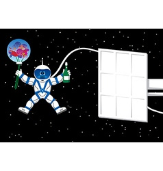 Spaceman with flowers card vector image vector image