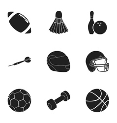 Sport and fitness set icons in black style Big vector image vector image