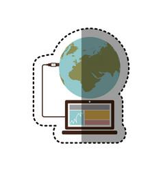 sticker laptop global hosting database vector image
