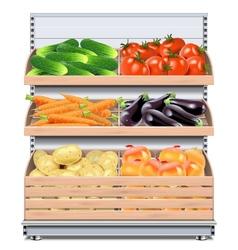 Supermarket Shelf with Vegetables vector image