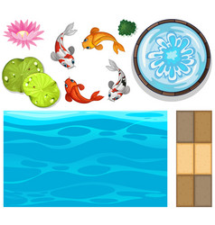water background with fish and lotus vector image vector image