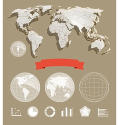 World map and different charts vector image