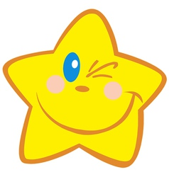 yellow star winking vector image
