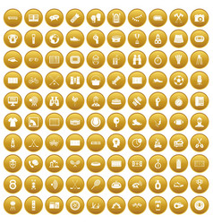 100 sport journalist icons set gold vector