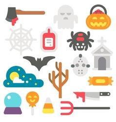 Flat design Halloween items set vector image