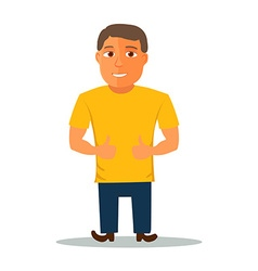 Cartoon character in yellow t-shirt vector