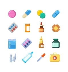 Medicine cartoon pill drug table antibiotics vector