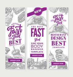 Vintage fast food vertical banners vector