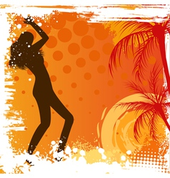 Dancing girl on grunge background vector