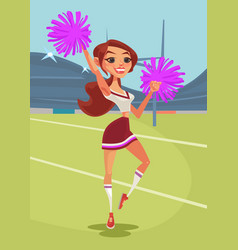 Happy smiling teen cheerleader girl dancing vector